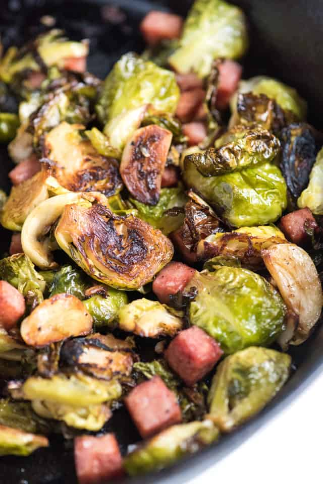 Perfectly Roasted Brussel Sprouts Recipe with Ham