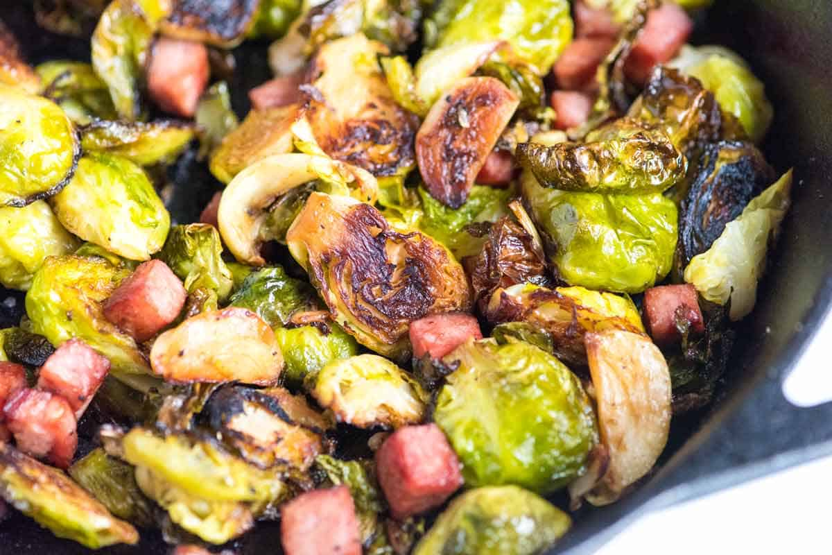Garlic Roasted Brussels Sprouts Recipe with Ham