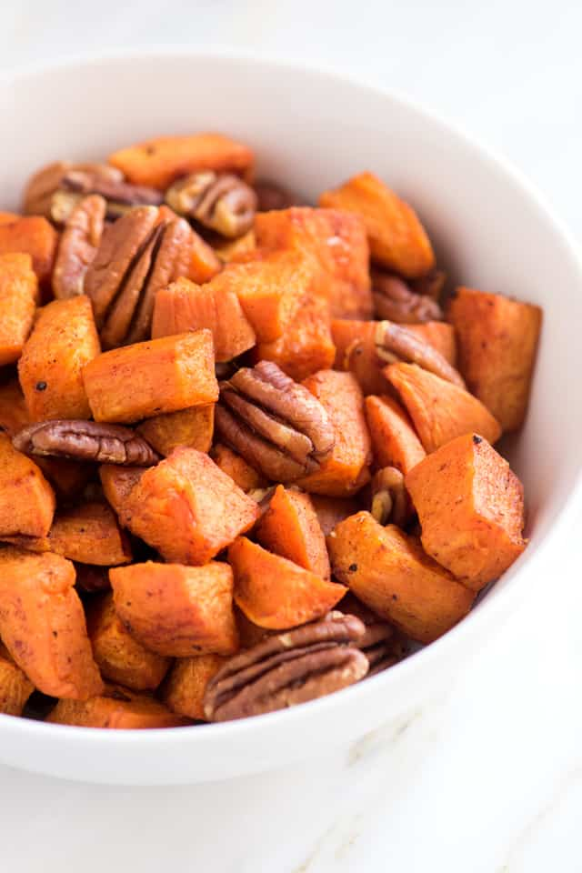 Coconut Oil Roasted Sweet Potatoes with Pecans