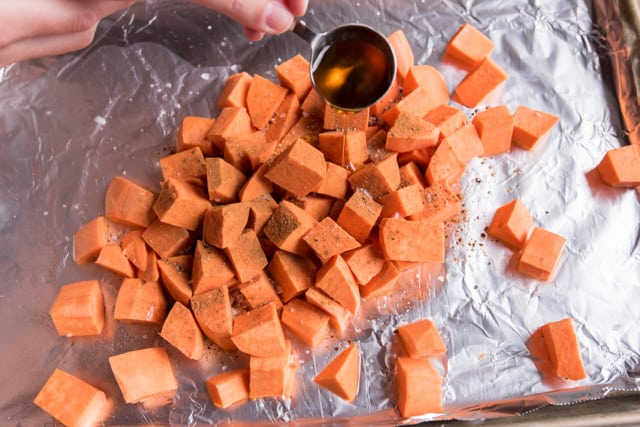 Coconut Oil Roasted Sweet Potato Recipe with Pecans
