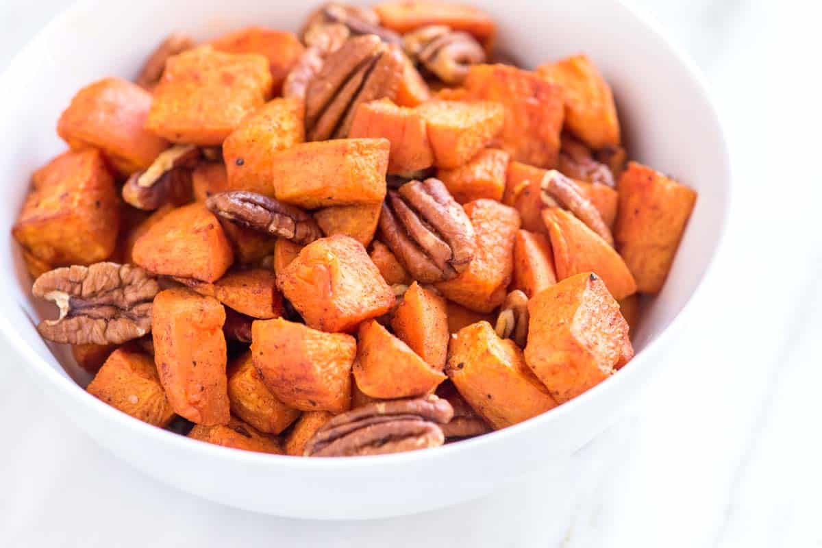 Coconut Oil Roasted Sweet Potatoes Recipe with Pecans
