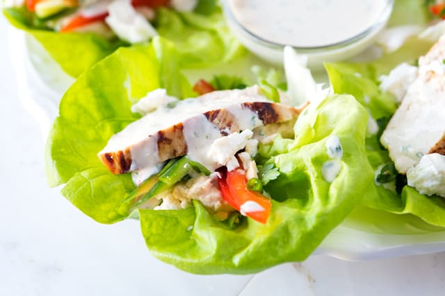 Honey-Dijon Chicken Lettuce Wraps with Hummus, Cucumber and Feta