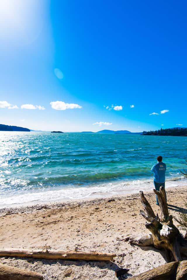 Adam Looking at Puget Sound Near Bellingham