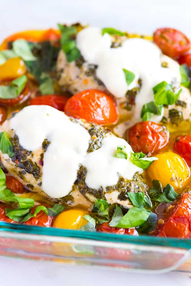 Garlic Basil Baked Chicken Breast with Tomatoes