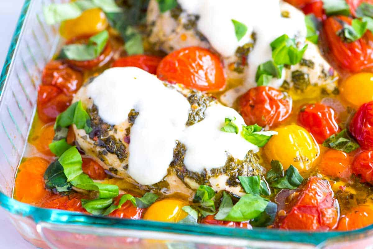 Garlic Basil Baked Chicken Breast Recipe with Tomatoes