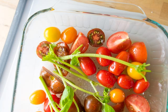 , we move on to the tomatoes. If you can, use multi-colored tomatoes ...