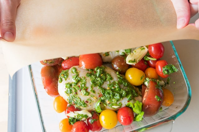 Garlic Basil Chicken and Tomatoes - ready to be roasted