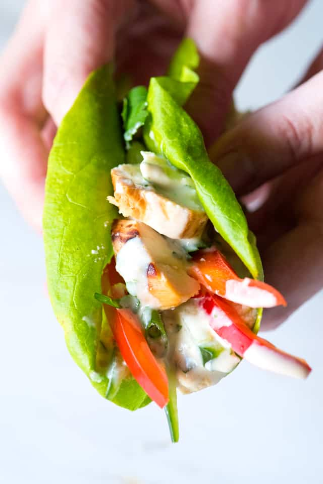 Chicken and Hummus Lettuce Wraps