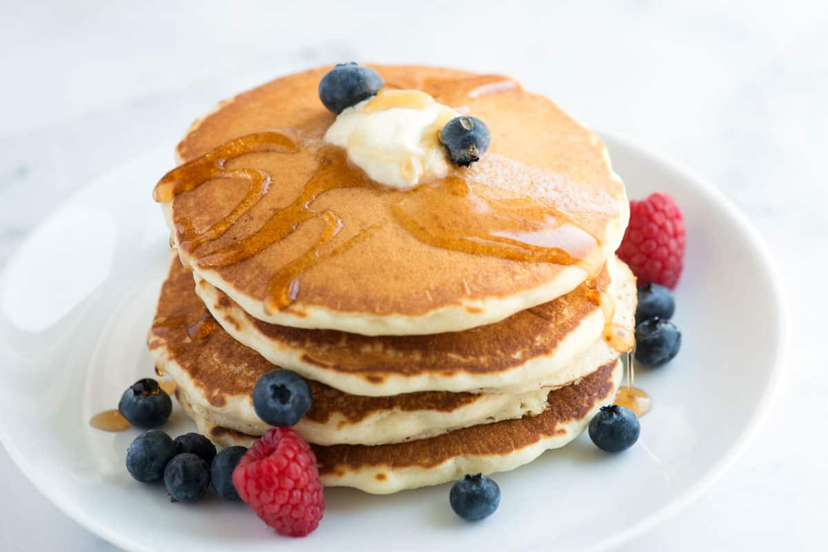 A stack of fluffy pancakes