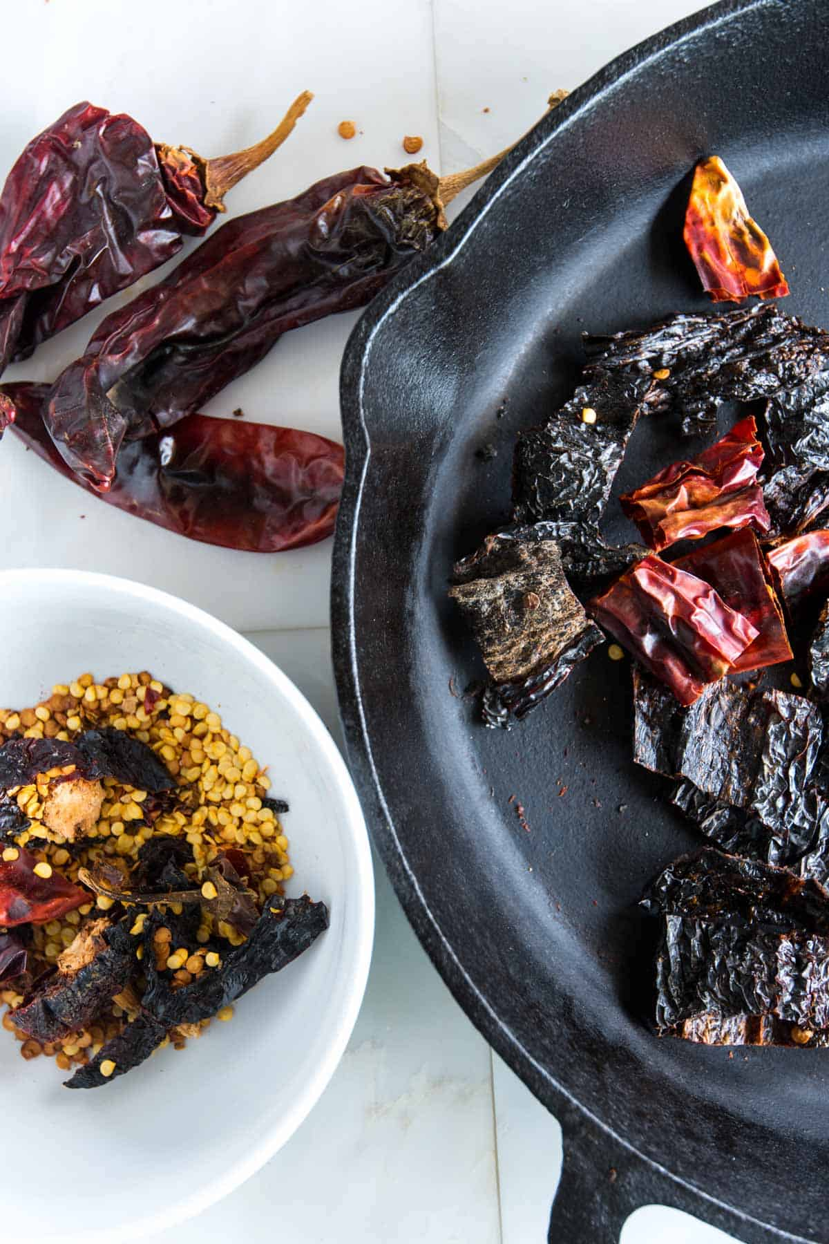 There's three simple steps for preparing the dried chiles