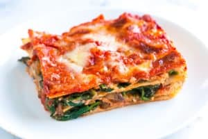 Healthier Spinach Lasagna Recipe with Mushrooms