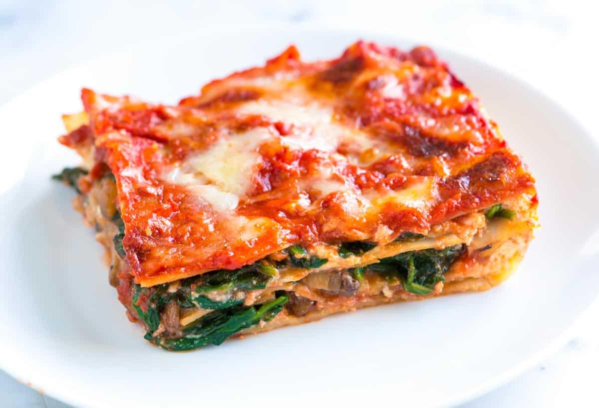 Healthier Spinach Lasagna Recipe With Mushrooms