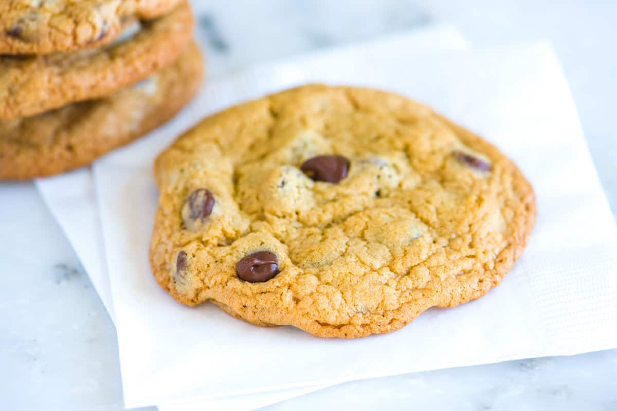 the recipe for the chocolate cookies This is the best chocolate chip cookie recipe in the world made with real butter  & vanilla, they're huge, soft & chewy & the dough is perfectly freezeable.
