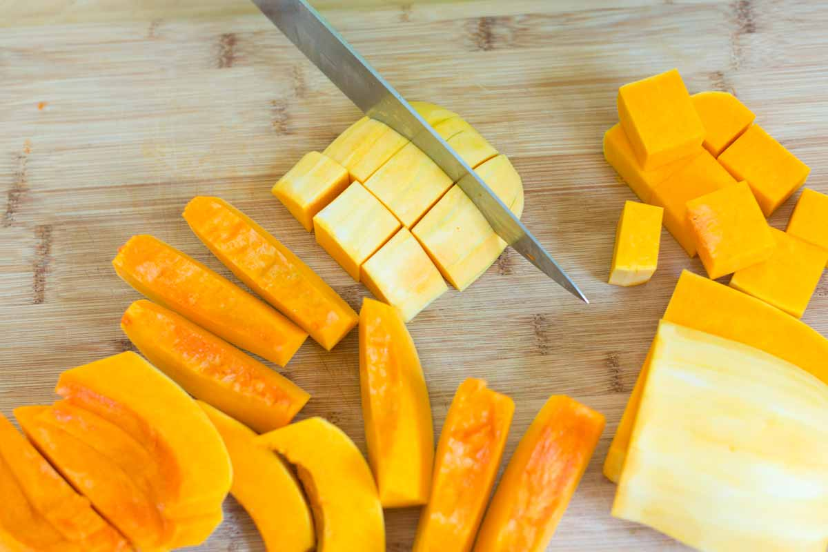 How to cut the squash into cubes