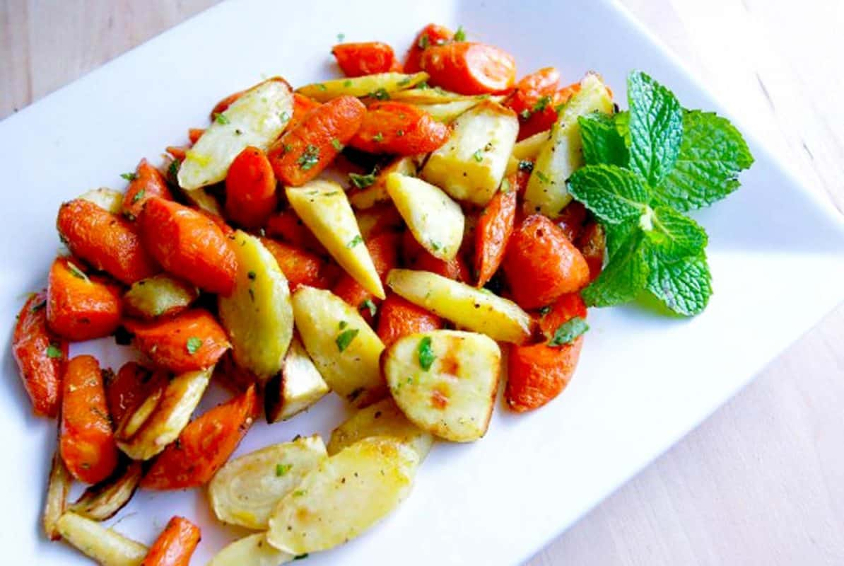 Easy Roasted Carrots and Parsnips with Mint