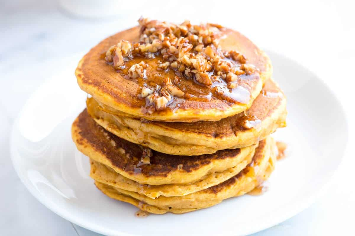 Fluffy Pumpkin Pancakes with Butter Pecan Syrup