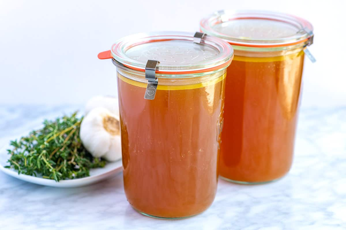 This homemade chicken stock will knock the socks of anything you can buy at the store. Use leftover bones or use chicken parts.