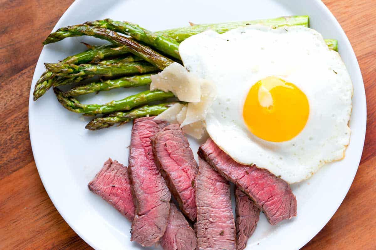 Steak and Eggs with Roasted Asparagus