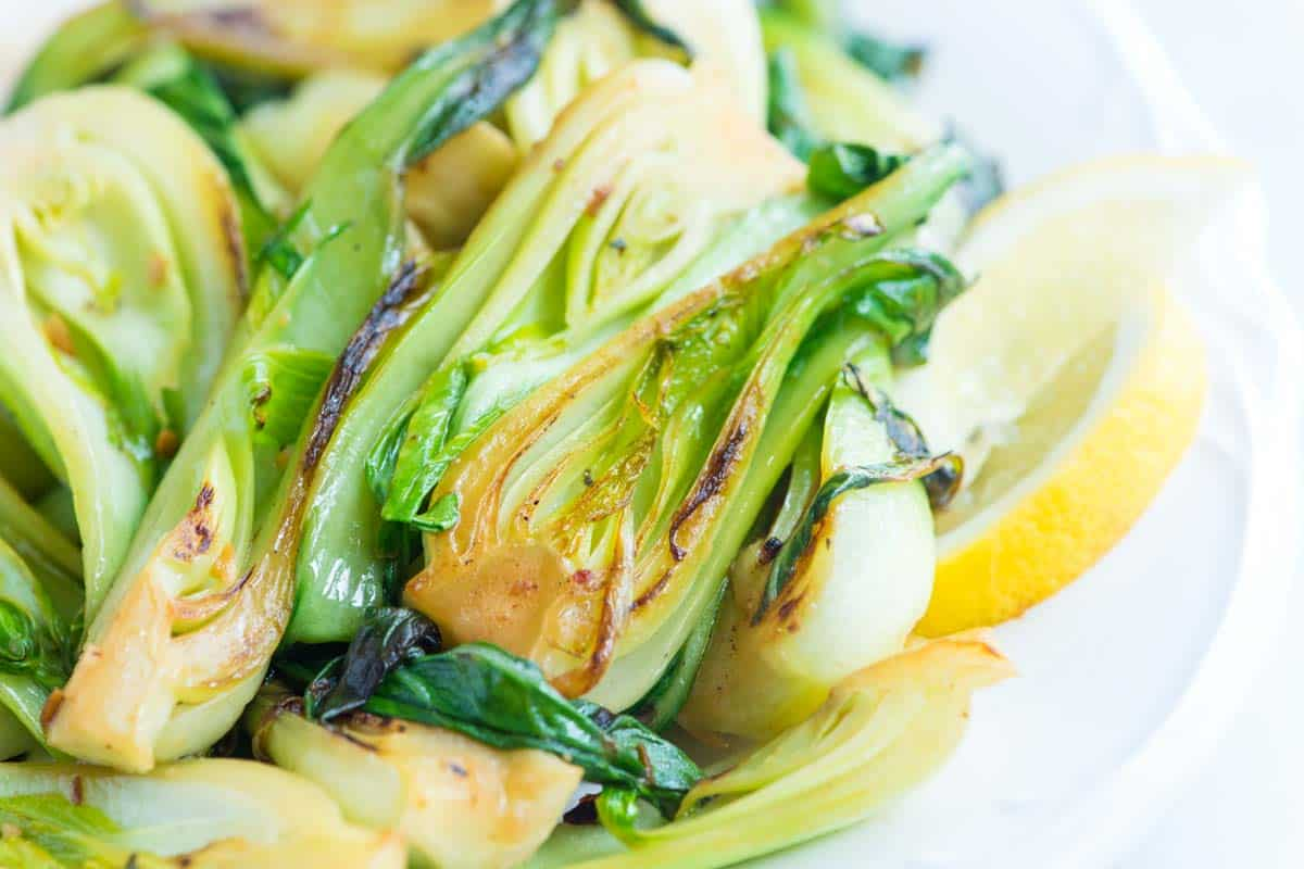 10 Minute Lemon Garlic Sauteed Bok Choy Recipe