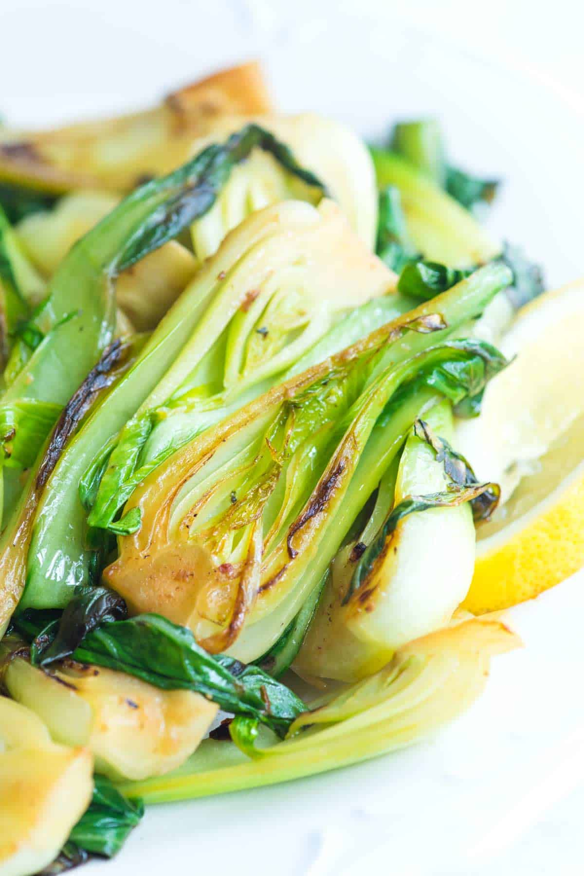 10 Minute Lemon Garlic Sauteed Bok Choy