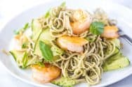 Ridiculously Good Shrimp Pesto Soba Noodles Recipe