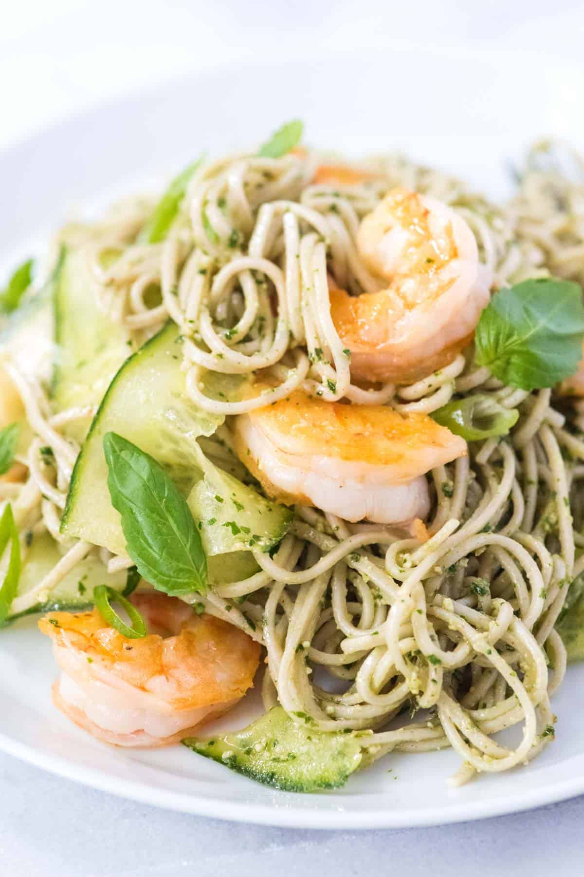 Ridiculously Good Shrimp Pesto Soba Noodles Recipe // You will love this quick and fresh soba noodles recipe with basil pesto, shrimp, and cucumber. Made in under 25 minutes!