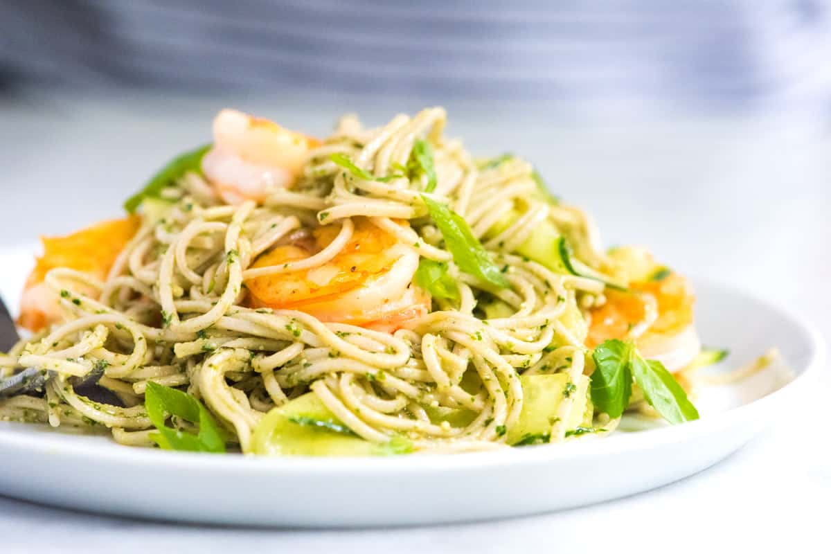 Pesto Shrimp Soba Noodles with Cucumber Ribbons