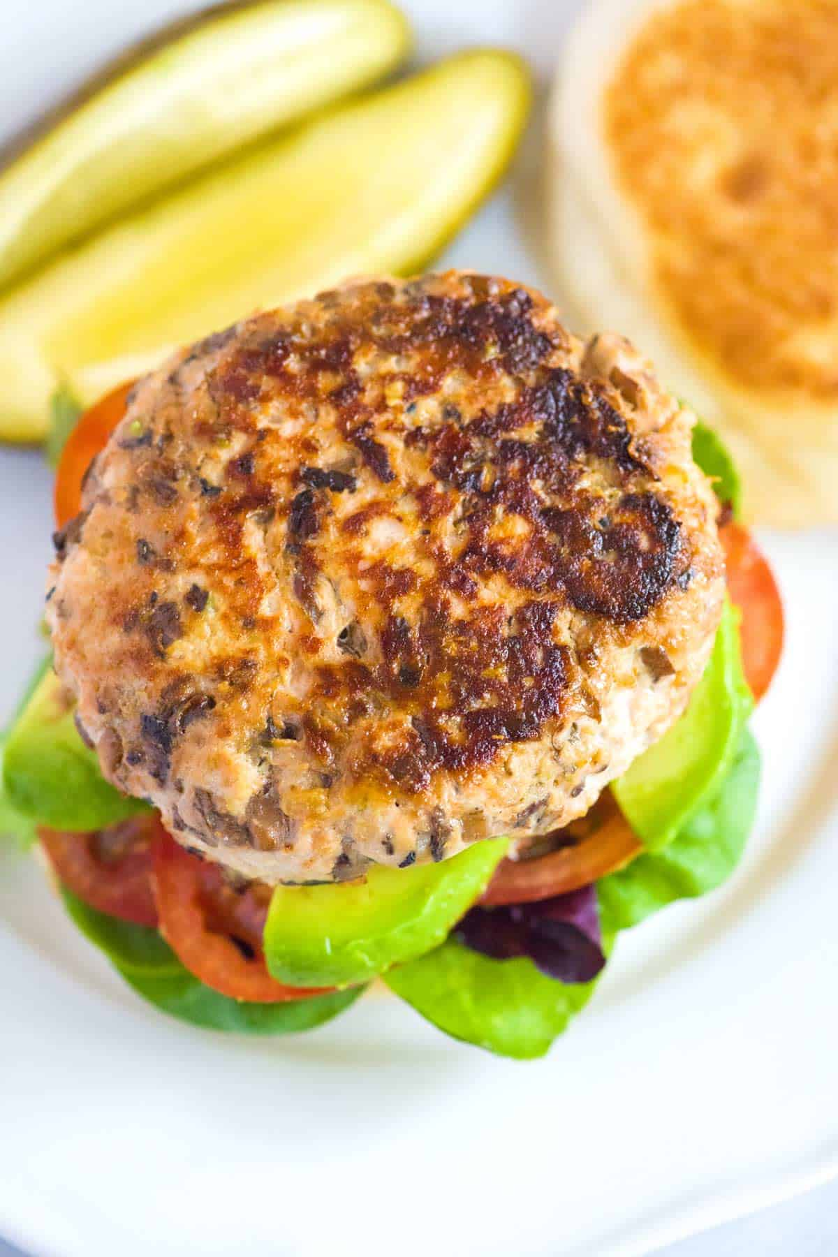 My favorite turkey burgers recipe! Thanks to our secret ingredient, these burgers are loaded with flavor and won't dry out.