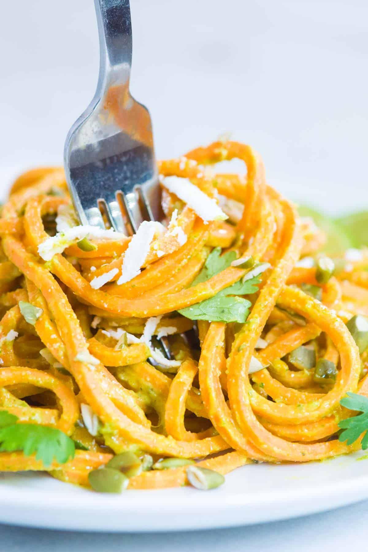 Creamy Avocado Sweet Potato Noodles