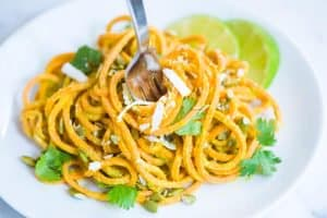 Creamy Avocado Lime Sweet Potato Noodles