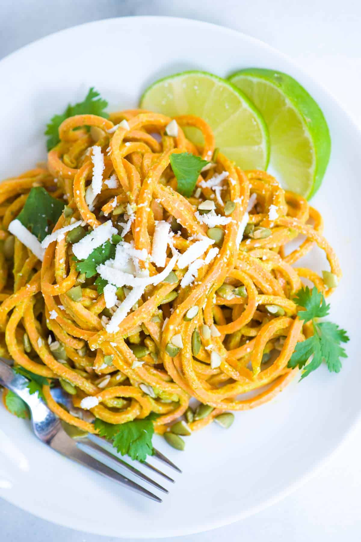 How to make our 25-minute sweet potato noodles recipe with a creamy dairy-free avocado sauce.