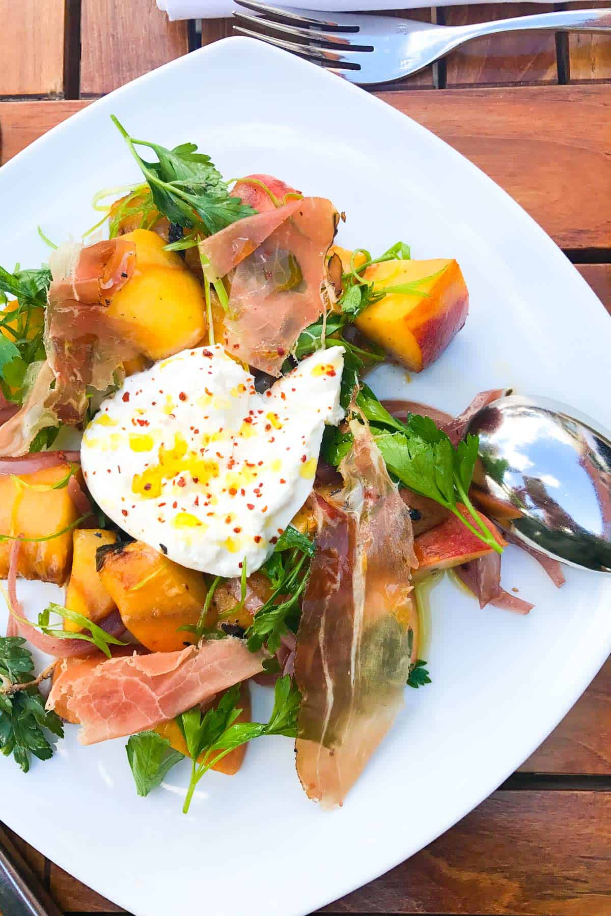 Peach and Burrata Salad from Saffron Mediterranean Kitchen in Walla Walla, Washington