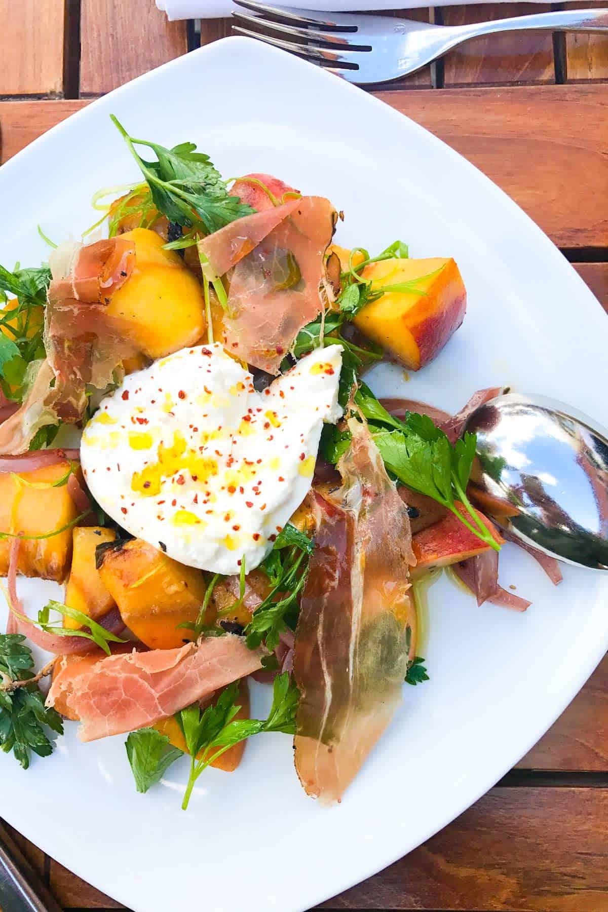 Peach and Burrata Salad from Saffron Mediterranean Kitchen in Walla Walla, Washington