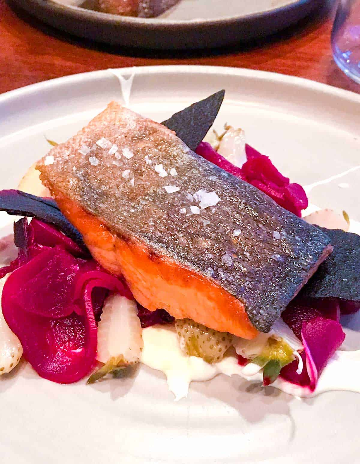 The salmon with cultured cream, beets and green strawberries from Ursa Minor on Lopez Island