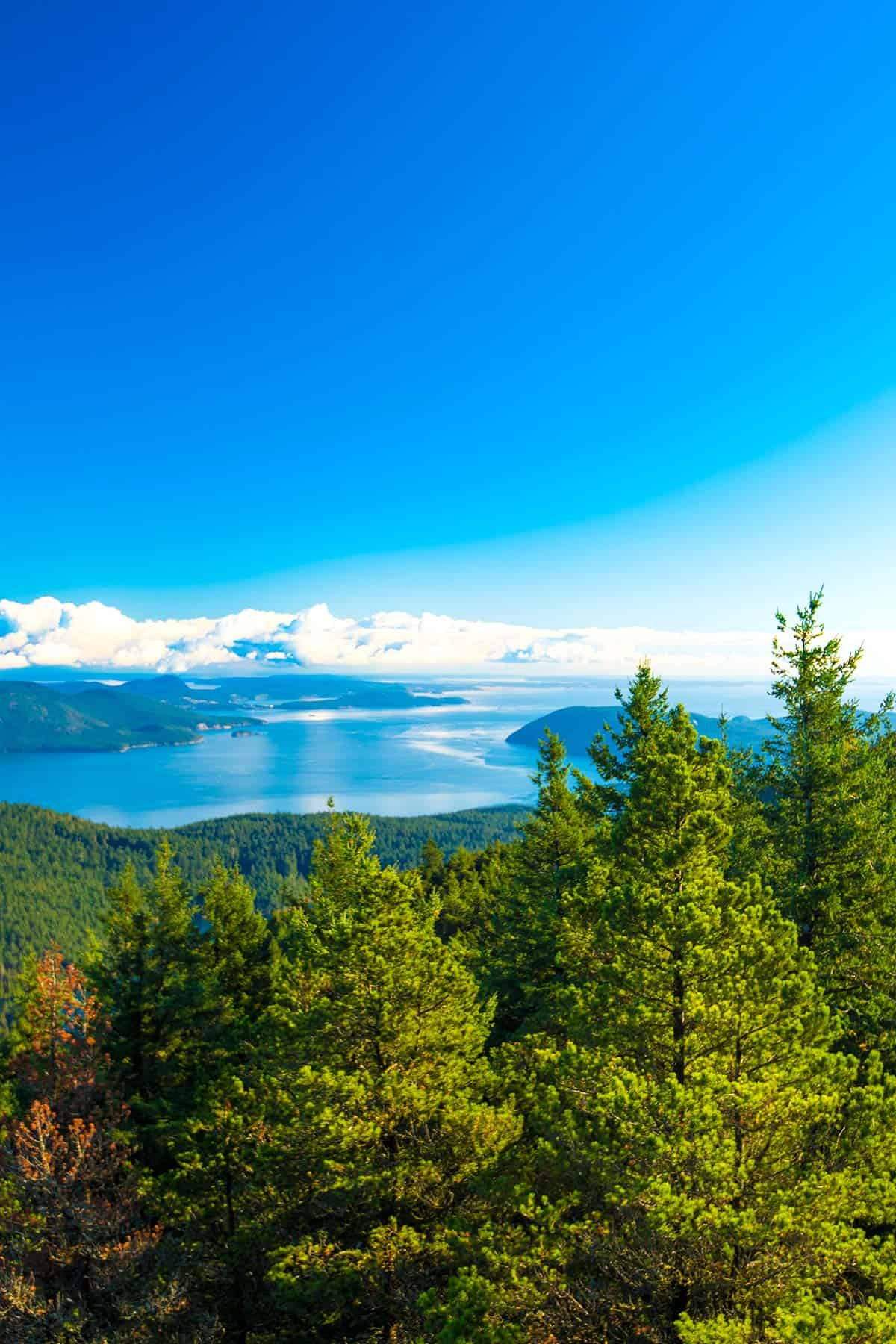 Gorgeous views of the San Juan Islands, Washington from Mt. Constitution