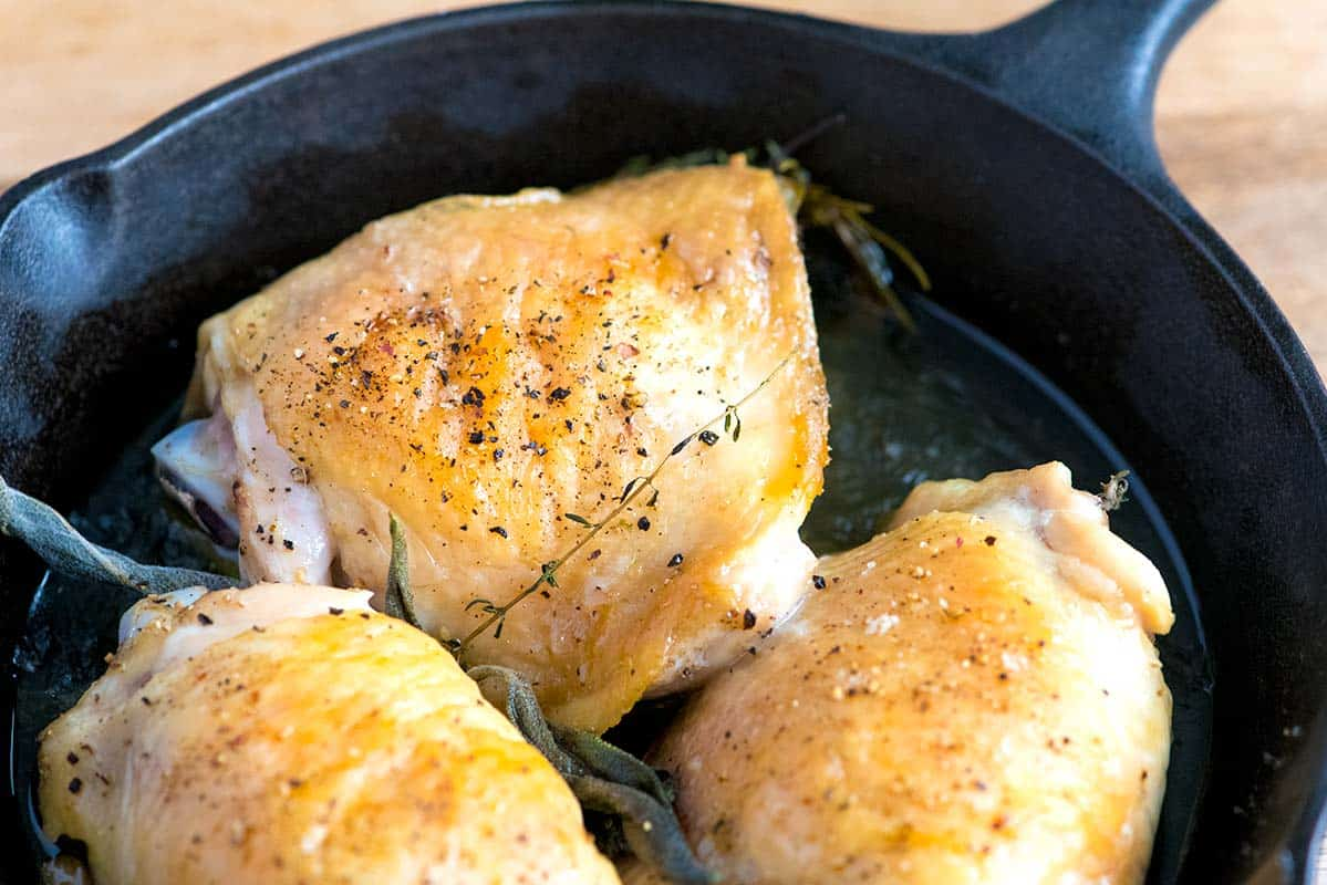 Roasted chicken thighs for the soup