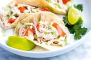 Shredded Chicken Tacos Recipe with Creamy Cilantro Sauce