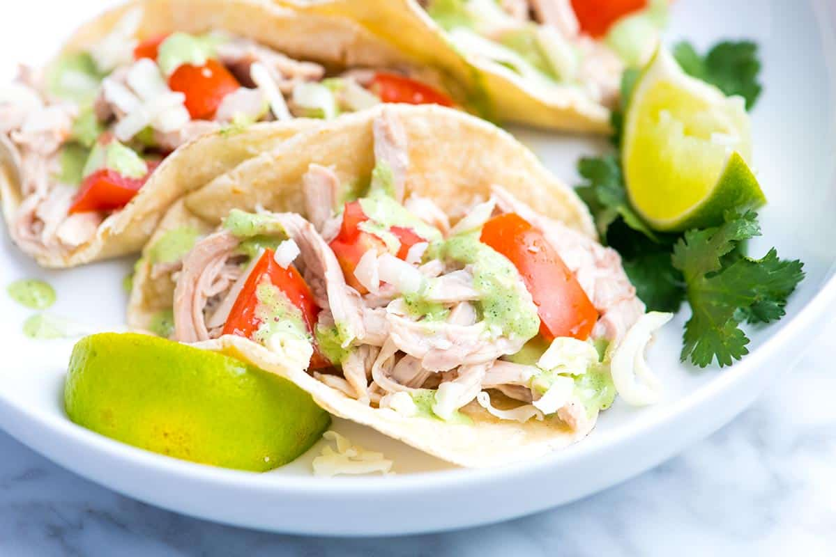 These easy shredded chicken tacos are full of flavor thanks to well seasoned chicken and a bright and creamy cilantro sauce.