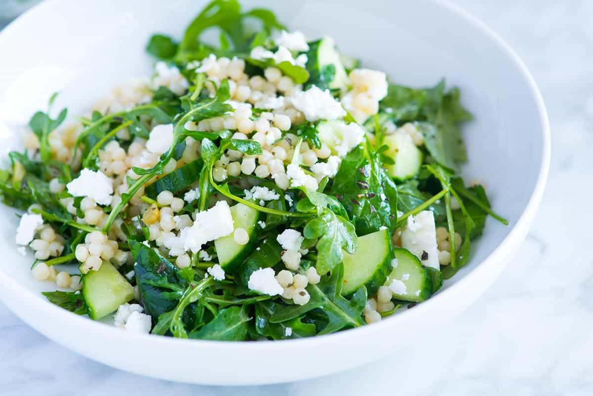 Lemony Arugula Salad with Couscous, Cucumbers and Feta Recipe