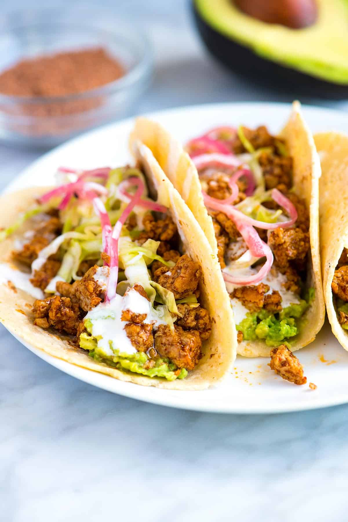 Crave-Worthy Ground Pork Tacos Recipe // Thanks to ground pork, these easy pork tacos come together fast. You can even make the filling in advance.