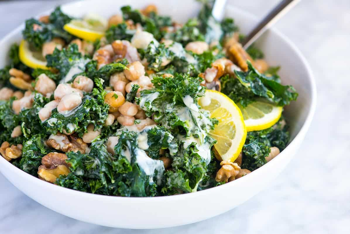 Easy Kale and Bean Salad Recipe with Tahini Dressing and Walnuts
