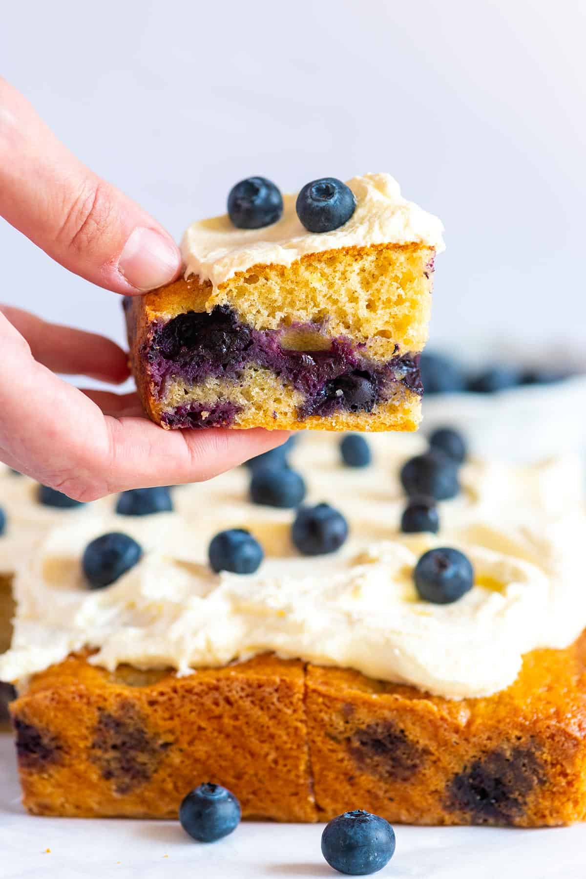 Inspired by pound cake, this blueberry cake recipe has a tender, rich and buttery crumb.
