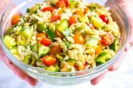 Easy Lemon Orzo Pasta Salad with Cucumbers and Olives