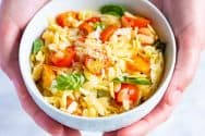 Easy Orzo Pasta Recipe with Tomatoes, Basil and Parmesan