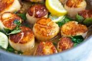 Seared Scallops with Garlic Basil Butter