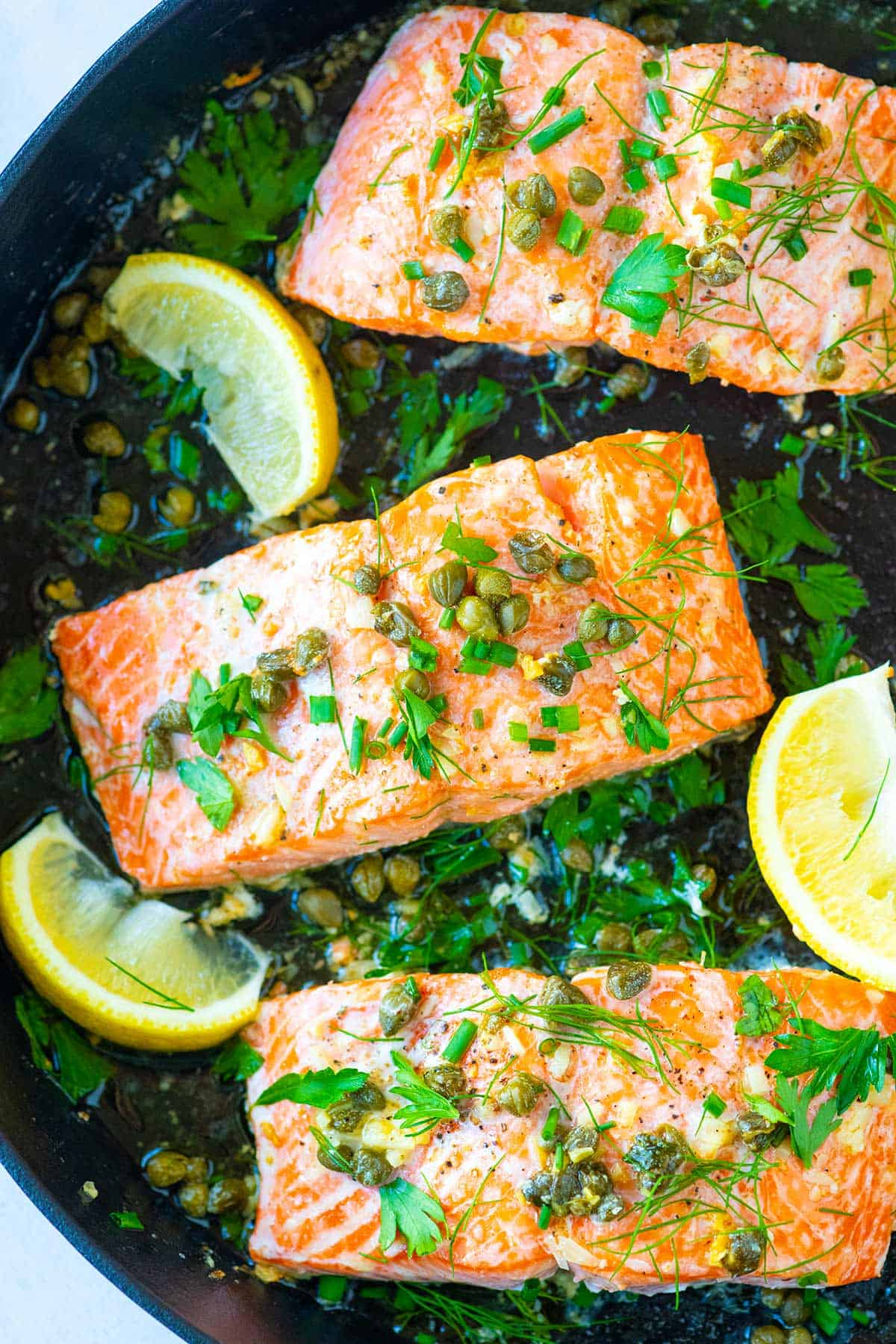 Garlic Caper Butter Baked Salmon