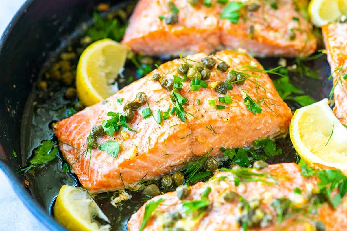 Easy Garlic Caper Butter Baked Salmon Recipe