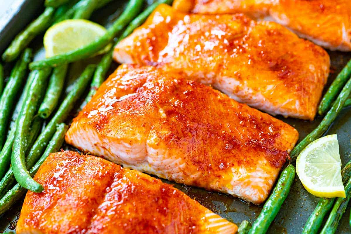 Brown Sugar Baked Salmon Recipe with Green Beans