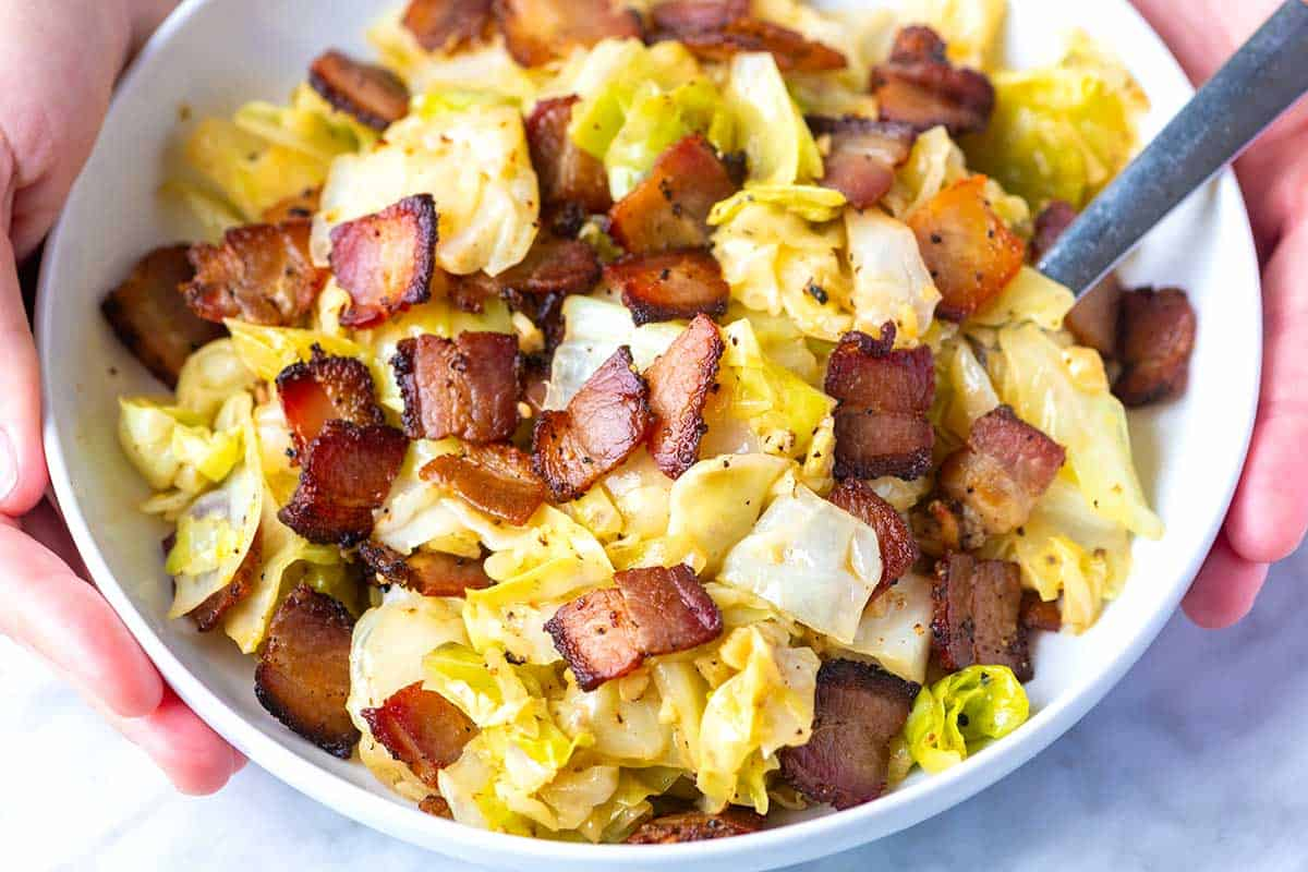 Fried Cabbage with Bacon and Garlic.