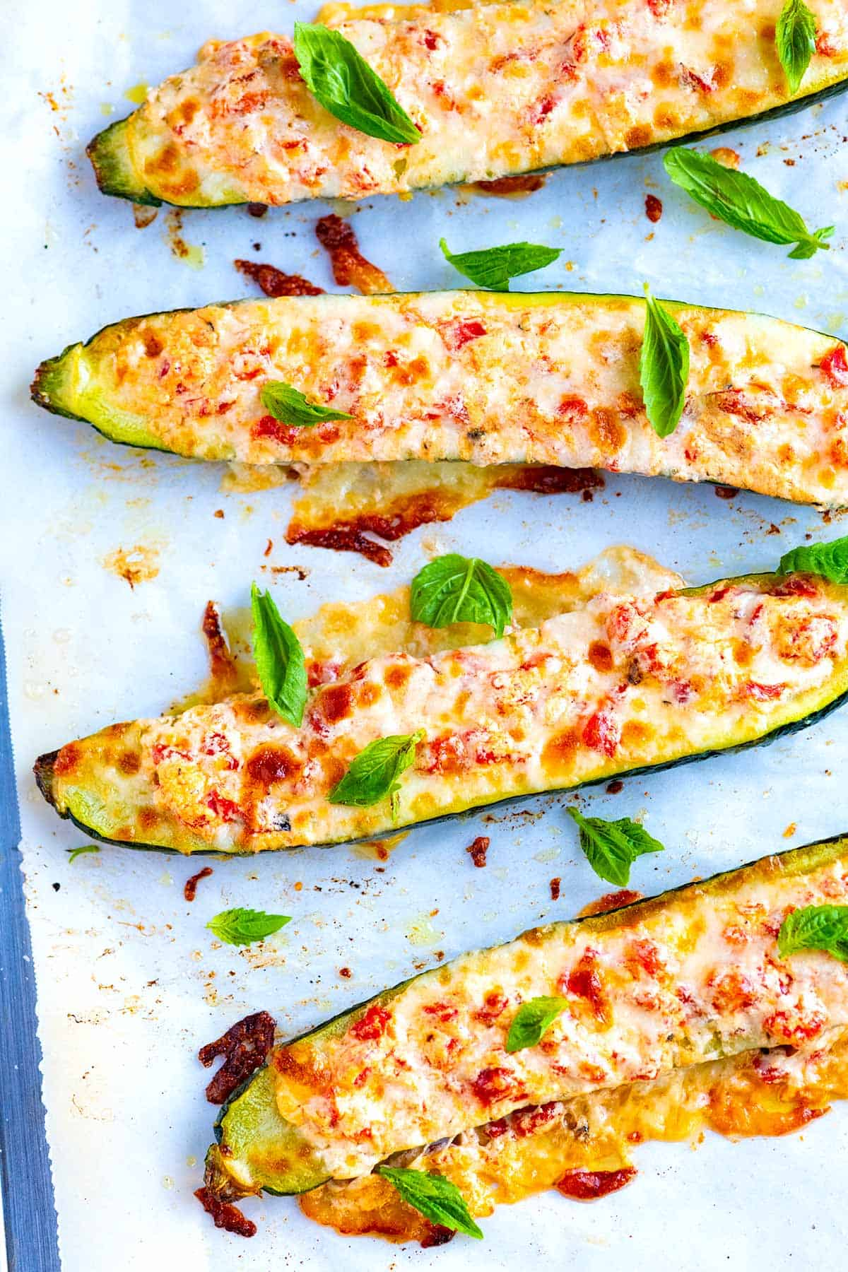 How to Make Cheesy Roasted Red Pepper Stuffed Zucchini Boats